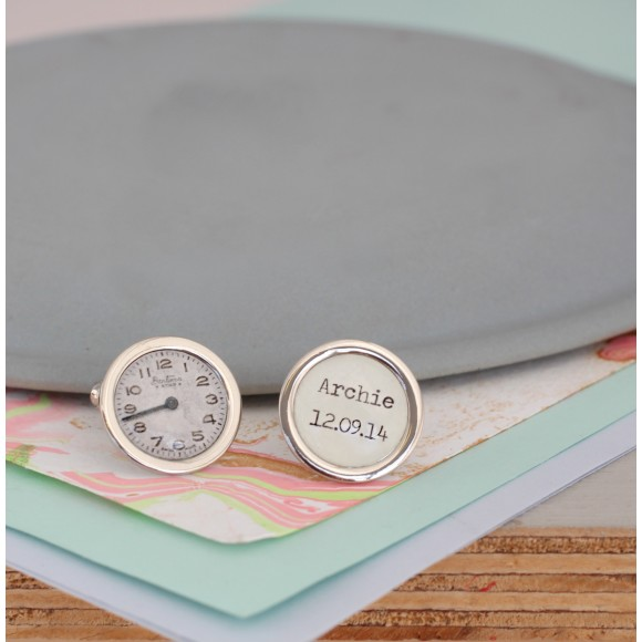 Personalised Special Time Cufflinks to remember birthdays, wedding days and significant moments in your life