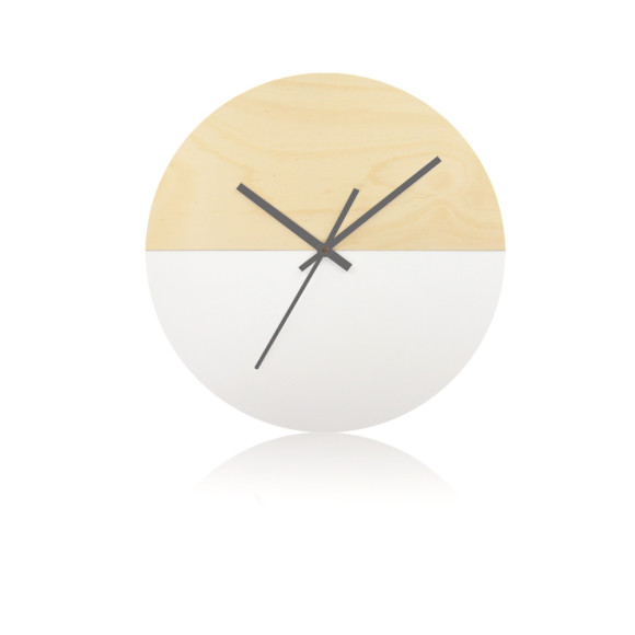 Half moon wall clock in white - 30cm