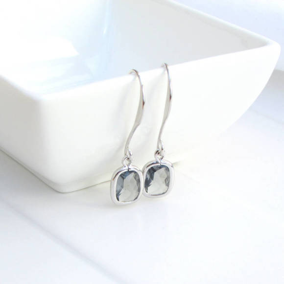 Faceted Rectangle Glass Earrings Rhodium
