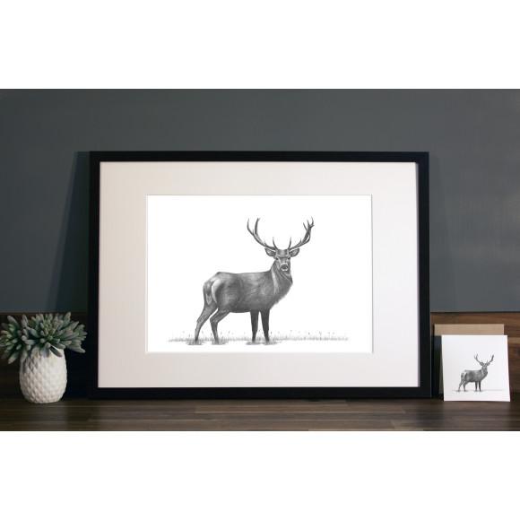 Stag print A3 mocha frame