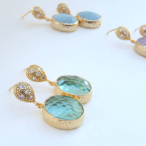 Oval Faceted Glass Gold Earrings Erinite