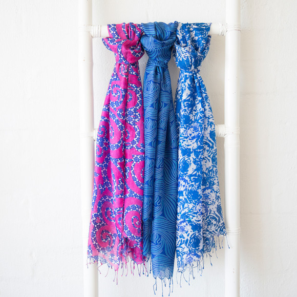 Porcelain floral silk scarf on right