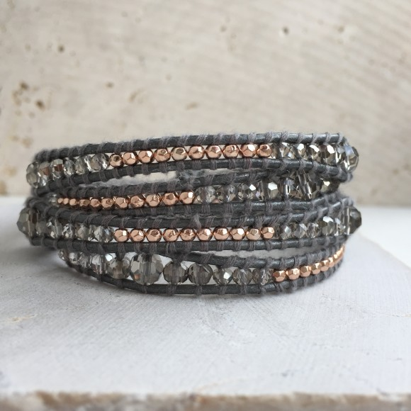 Metallic Grey Leather Multi Wrap Bracelet