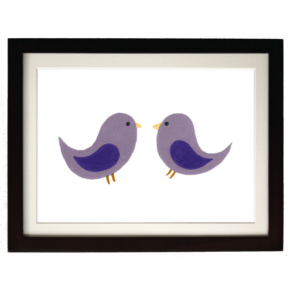 Twin purple birds mocha frame