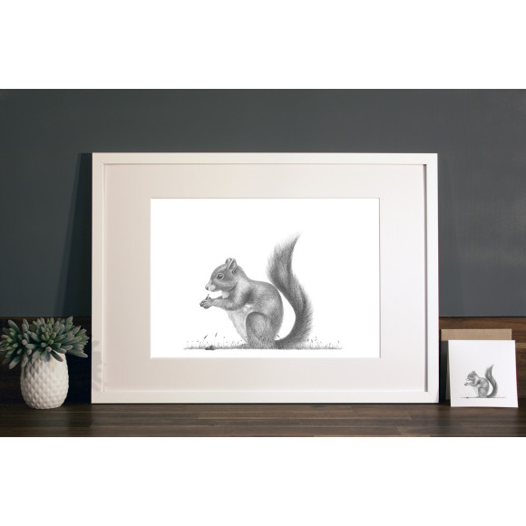 Squirrel print A3 white frame