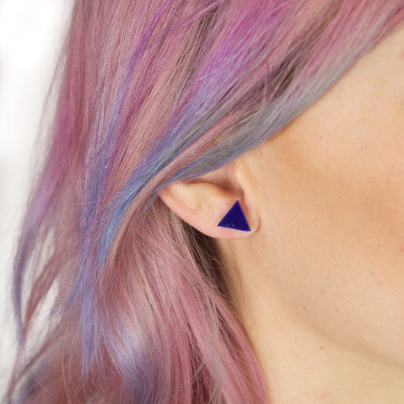 GEO - Triangle Earring Studs in navy blue