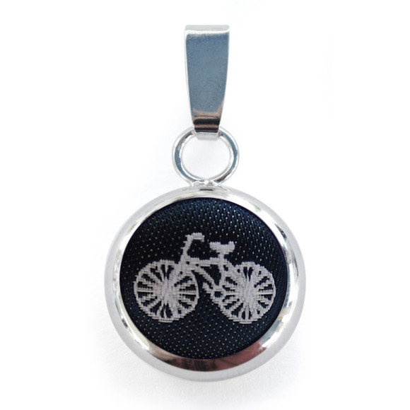 Navy Bike Pendant with Chain