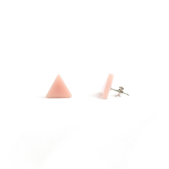 GEO - Triangle Earring Studs in blush pink