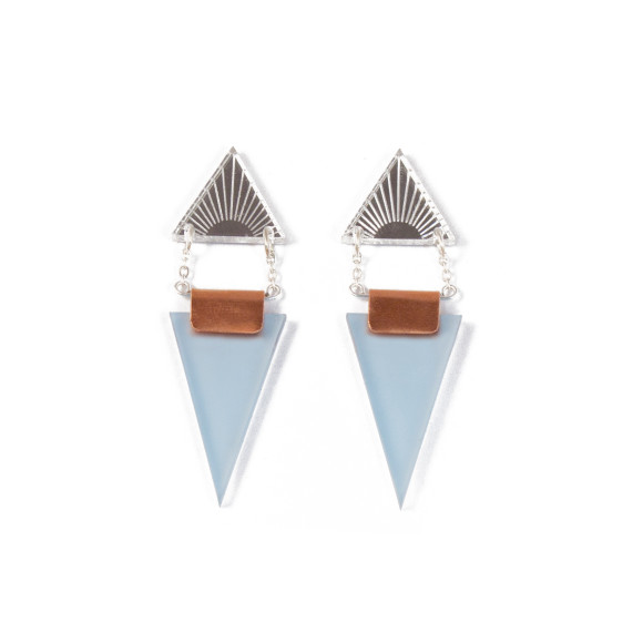 Double Triangle Earrings - Silver / Pale Blue
