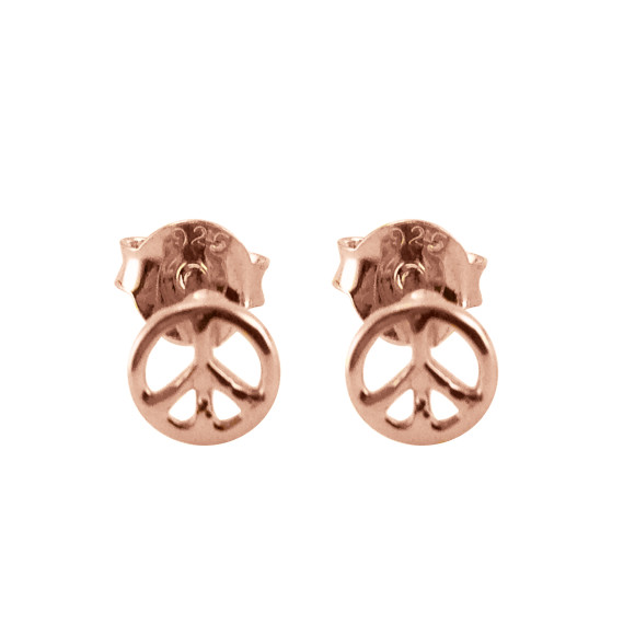 peace studs rose gold