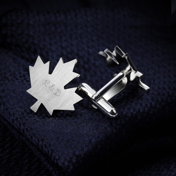 Sterling silver leaf cufflinks