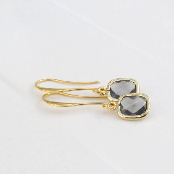 Faceted Rectangle Glass Earrings Gold