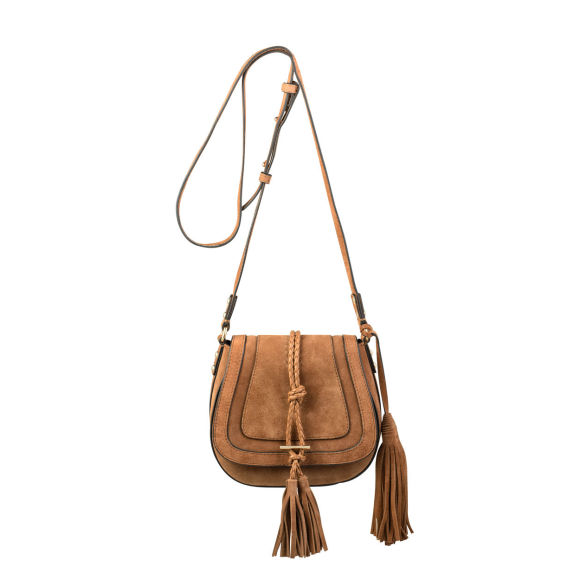 Harriet Saddle Bag in Tan Suede