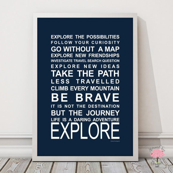 Expressions on the move explore print in Navy, with optional Australian-made white timber frame