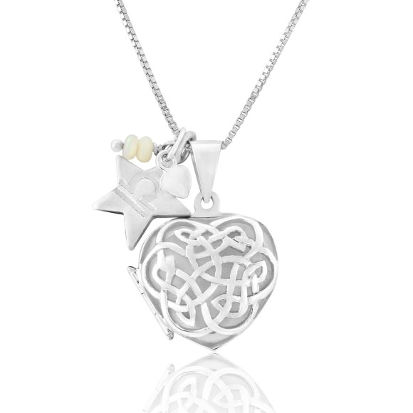 silver celtic heart locket with white opal for October Birthdays