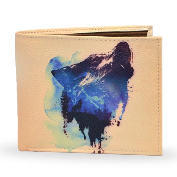 Wolf Print Vegan Leather Mens Wallet