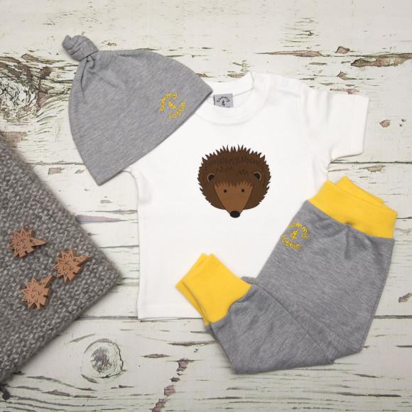 tommy & lottie British hedgehog three piece baby gift set