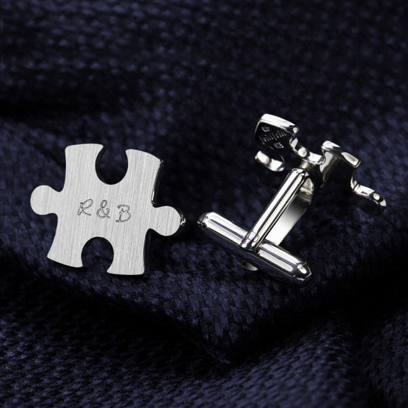 Puzzle cufflinks personalised
