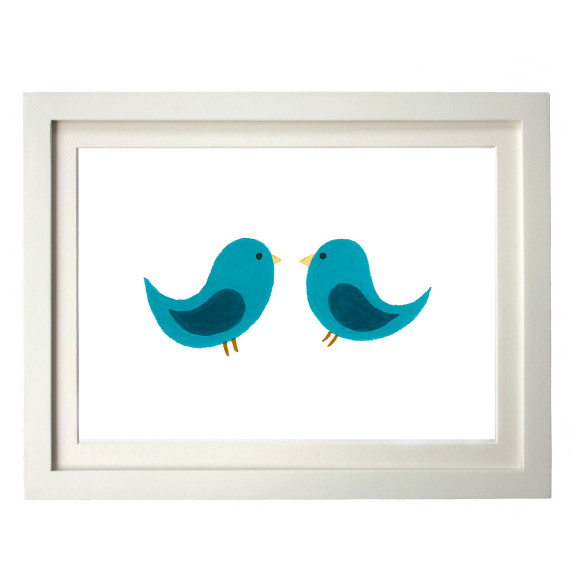 Twin teal birds white frame