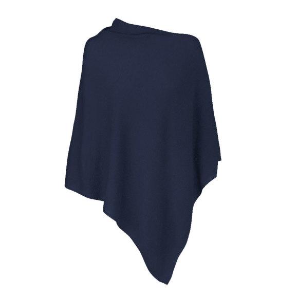 Navy Blue 100% Cashmere Poncho
