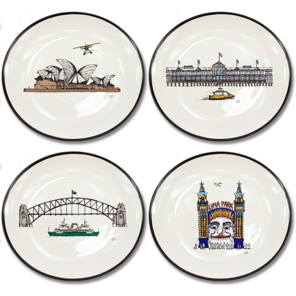 Set of 4 canapé plates