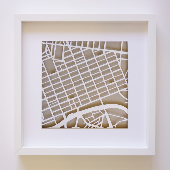 Melbourne Paper Art Map with optional Australian-made white timber frame