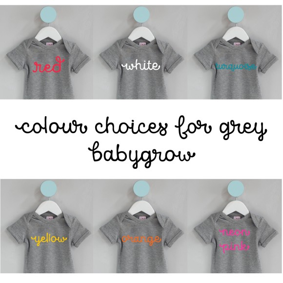 text colour options grey baby wear