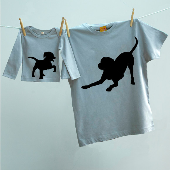 Big Dog and Puppy t shirt twinset