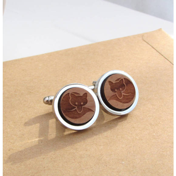 Personalised Wooden Cunning Fox Cufflinks
