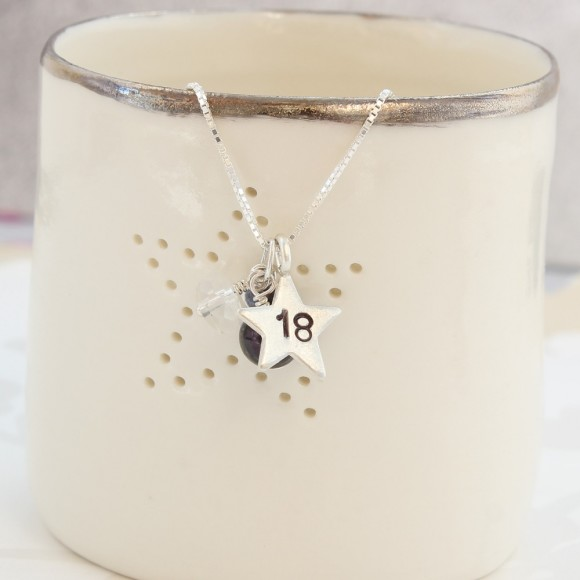 18th birthday necklace with rock crystal for april and 18 star charm