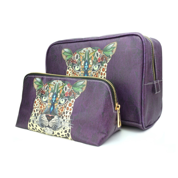 Travel Gift Set Leopard Queen Make Up & Toiletry Wash Bag