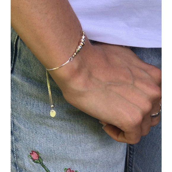 Sterling silver bead sliding bracelet
