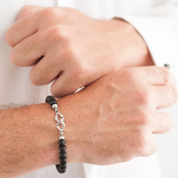 Ebony and rhodium Hoss men bracelet
