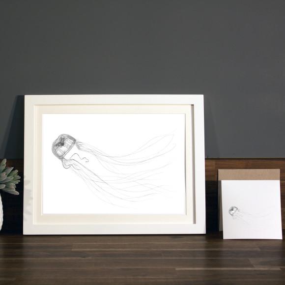 Jellyfish print A4 white frame