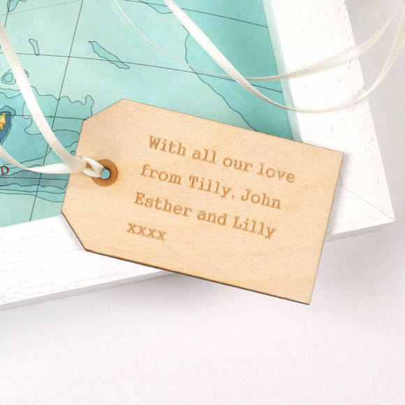 New Zealand map heart wooden tag