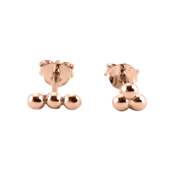 mismatched dots stud earrings rose gold