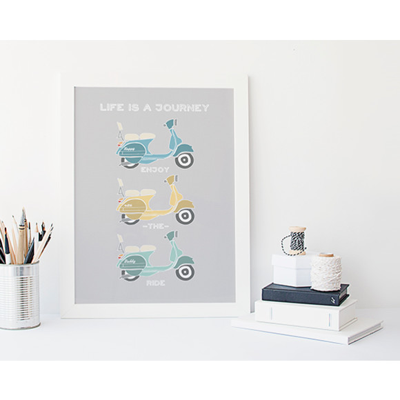 Personalised retro vespa scooter art print