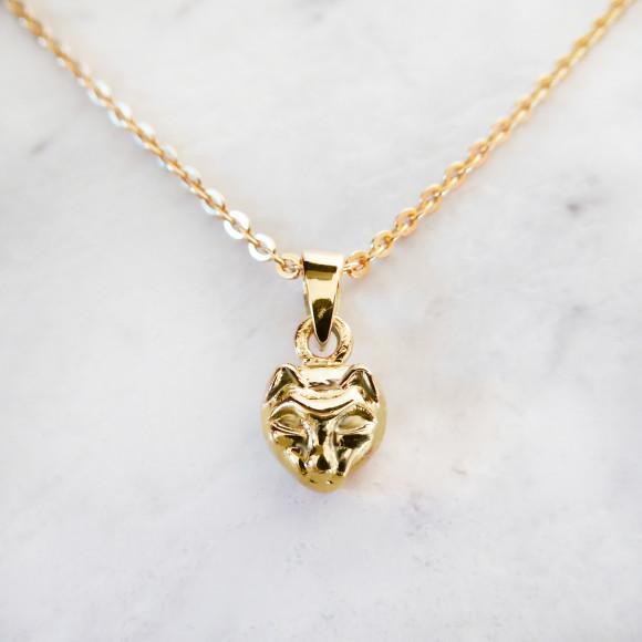 cat pendant necklace gold
