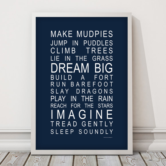 Dreams for Your Boy Print in Navy, with optional Australian made white timber frame