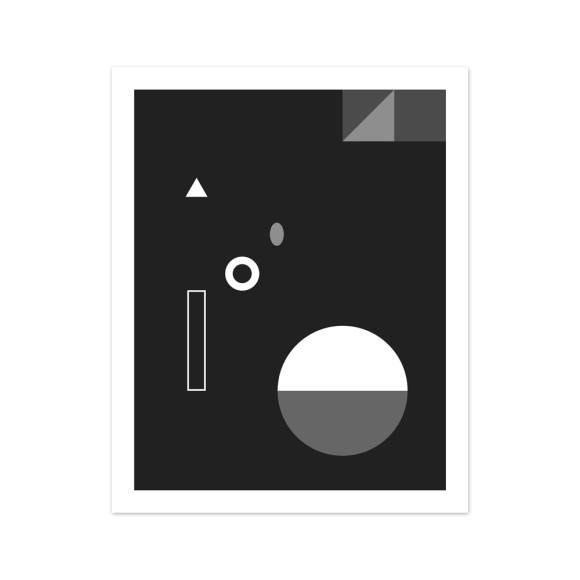 Soiree No. 3 Monochrome Geometric Art Print