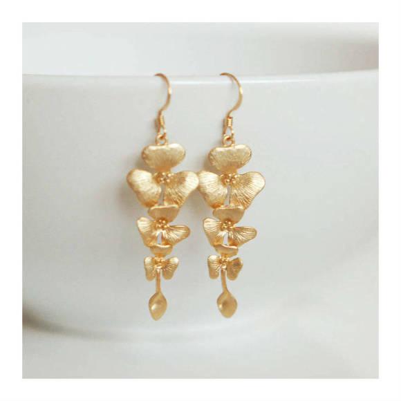 Cascading Gold Flower Earrings