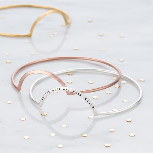 Personalised Eclipse Bangle in a variety of metal types