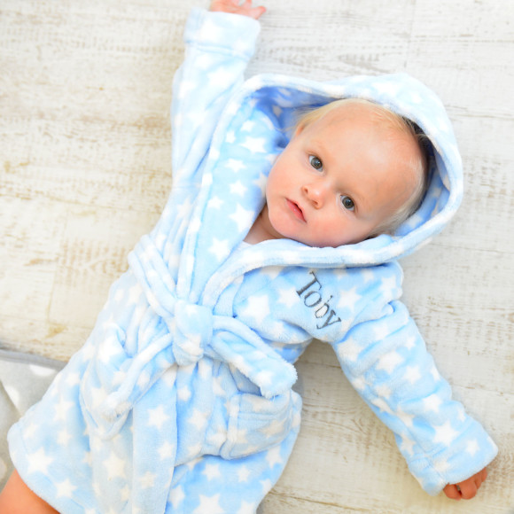 Personalised Star Soft Baby Dressing Gown | hardtofind.