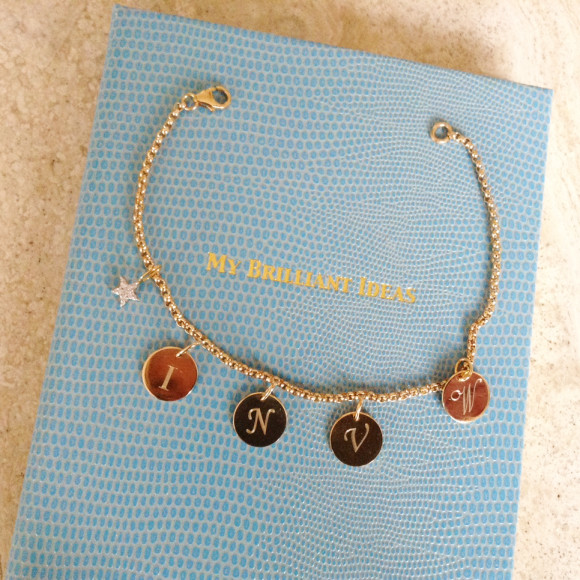 Soho Goldfill Bead Bracelet with four Gigi Initial Charms & Star Charm