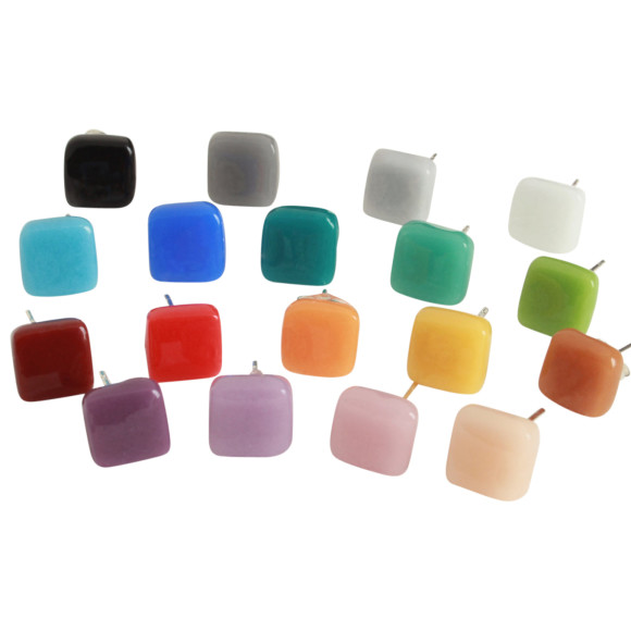 Small Square Glass Stud Earrings