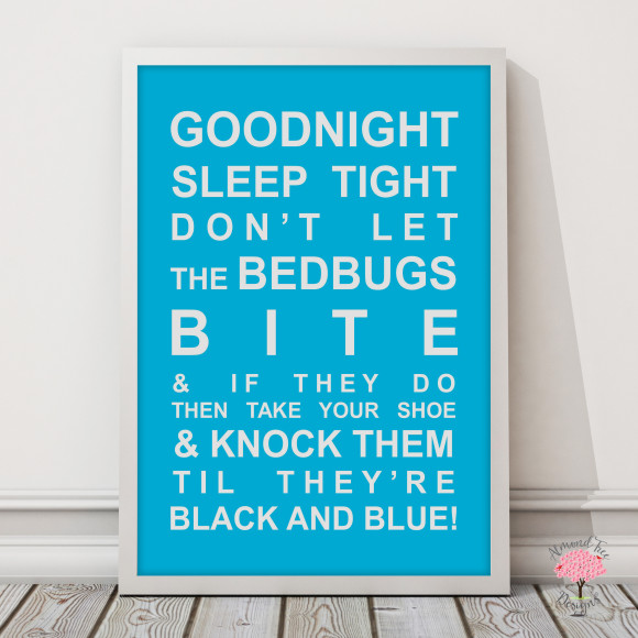 Goodnight Sleep Tight Print in Sky Blue, with optional Australian-made white timber frame