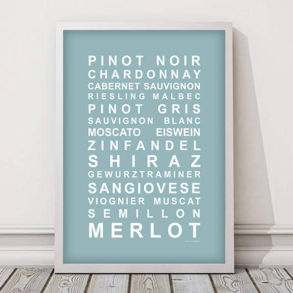 A Nice Drop of Wine Print in Duck Egg, with optional Australian-made white timber frame