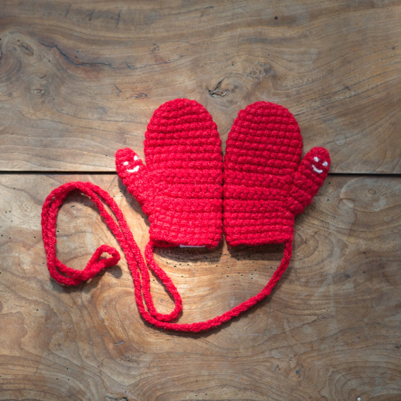 Red Smiley Mittens