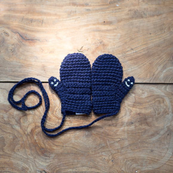 Navy Smiley Mittens
