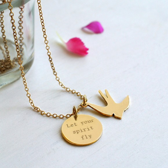 Gold Swallow and Quote Disc Necklace
